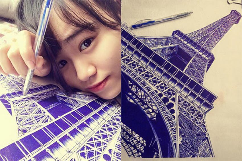 Nữ sinh Vũ Thùy Trang dùng bút bi vẽ tháp Eiffel