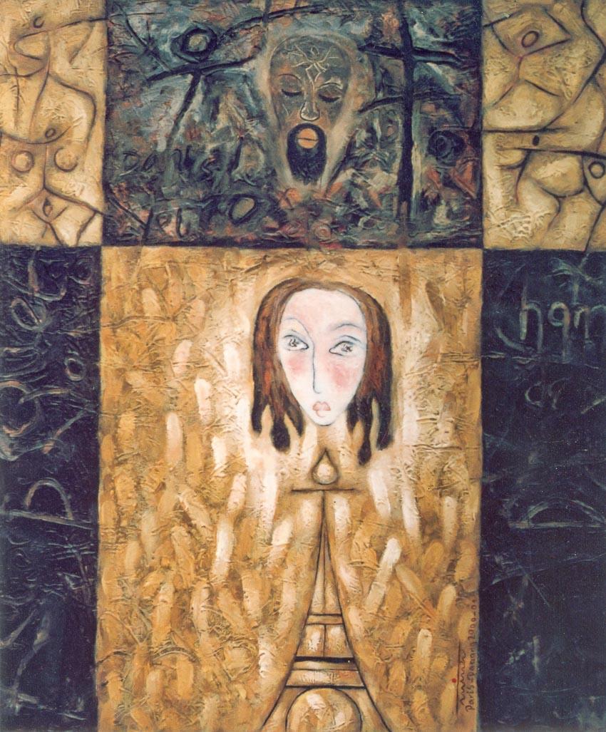 Tranh sơn dầu Ký ức Paris do Phan Ngọc Minh vẽ năm 2000
