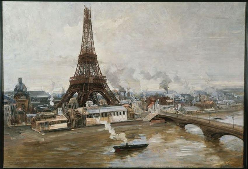 Tháp Eiffel nhìn từ sông Seine. Tranh sơn dầu: Paul Louis-Delance
