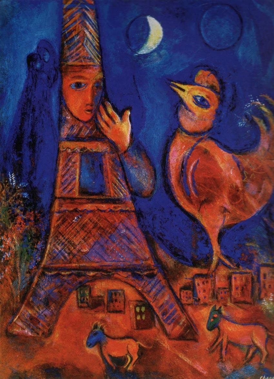 Tranh sơn dầu Bonjour Paris do Marc Chagall vẽ giai đoạn 1939-1942