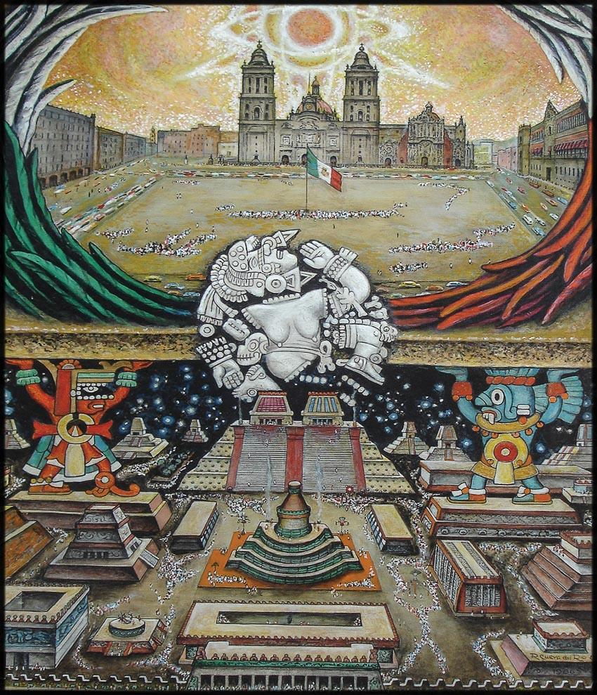 Tranh tường của Roberto Cueva Del Río, phần trên là Mexico City, dưới là đô thị Tenochtitlan của người Aztec