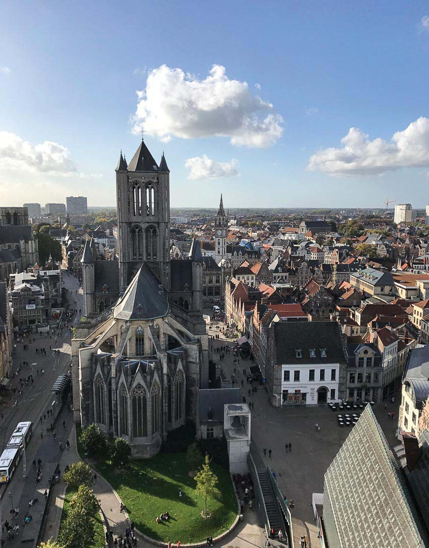 Trung tâm phố cổ Ghent nhìn từ trên cao