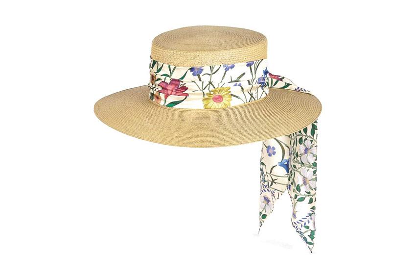 Nón cói với dây ruy-băng hoa xinh của Gucci