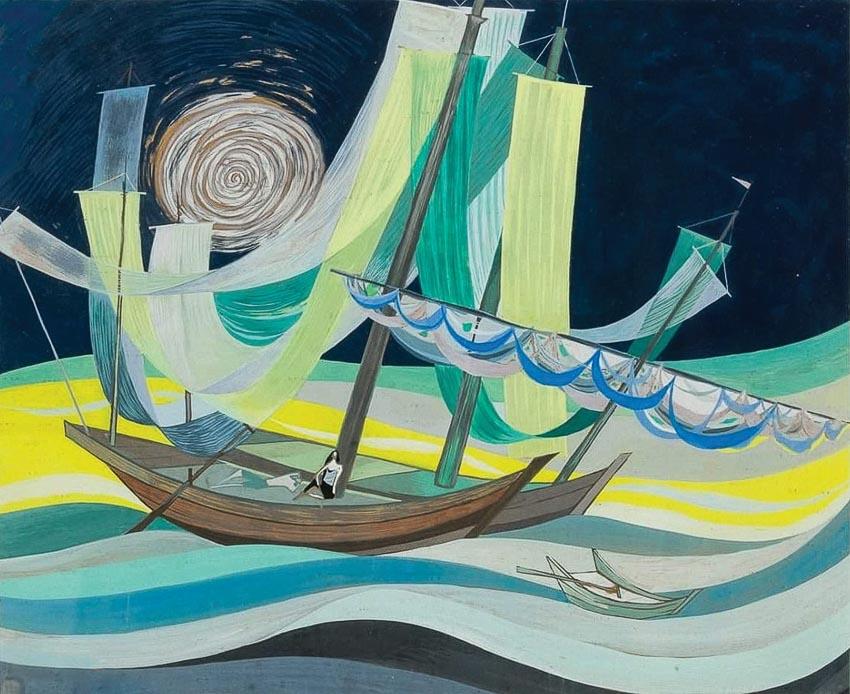 Thuyền bên sông (1962, tranh sơn dầu thuộc sưu tập tư nhân tại Pháp)