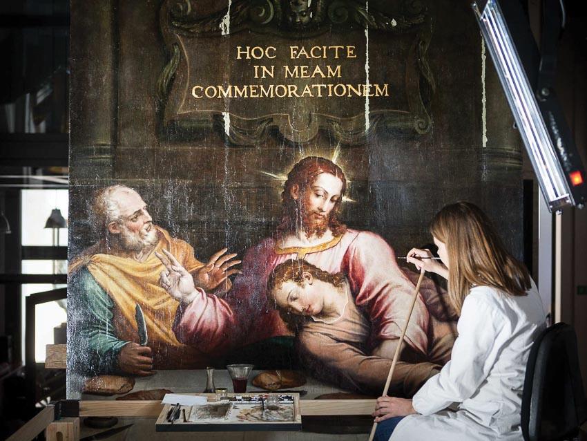 Phải mất nửa thế kỷ để phục chế tác phẩm Bữa tiệc ly của Giorgio Vasari gần như bị hủy hoại sau trận hồng thủy 1966