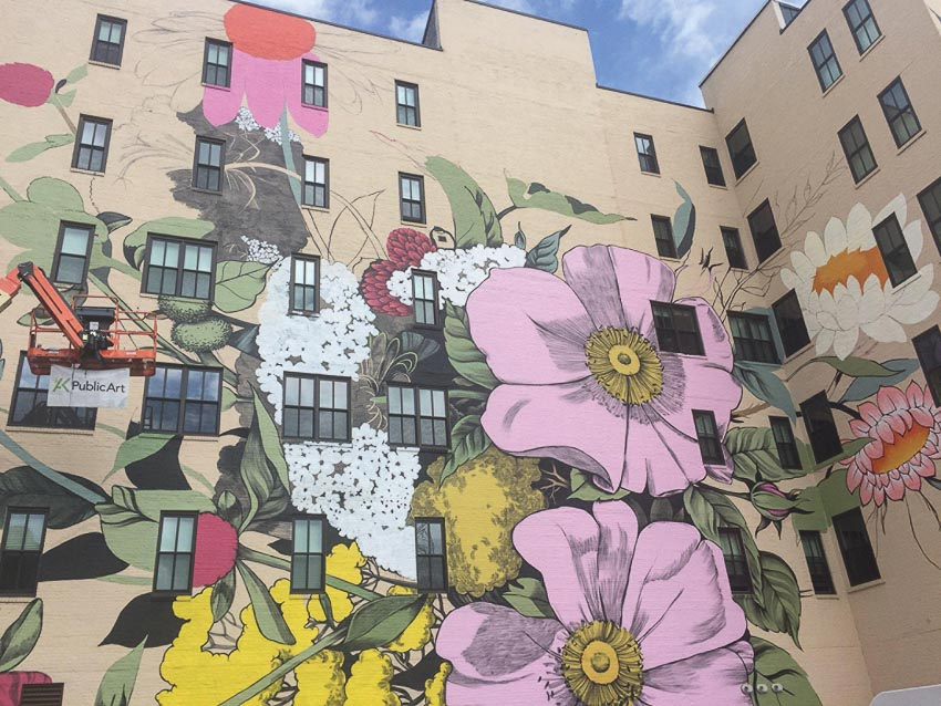 Nữ họa sĩ Ouizi vẽ hoa trên cao ốc 3