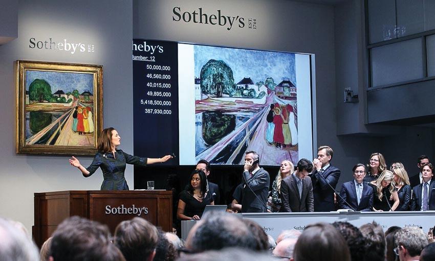Ngày 15-11-2014 đấu giá bức Các cô gái trên cầu của Edvard Munch tại nhà Sotheby's London. Tranh được bán với giá 50 triệu USD