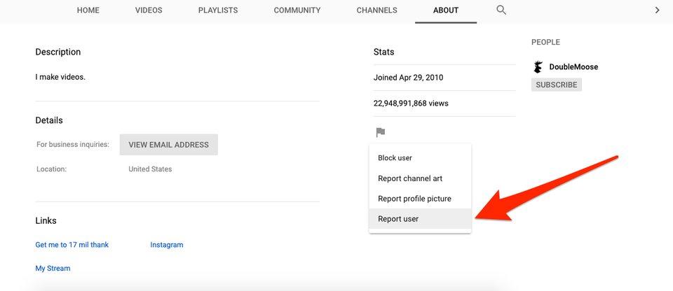 báo cáo một kênh YouTube vi phạm