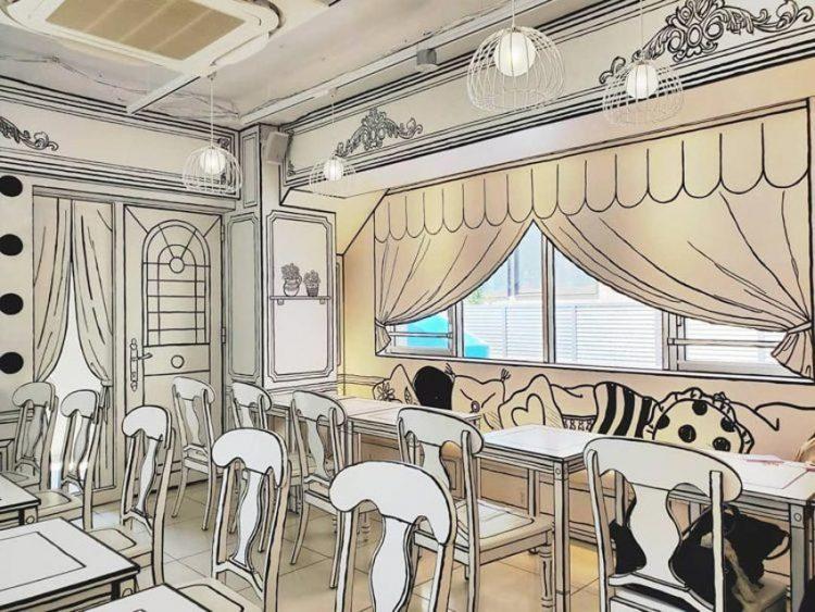 Quán Cafe 2D thiết kế dựa trên ý tưởng của sách tô màu - 1