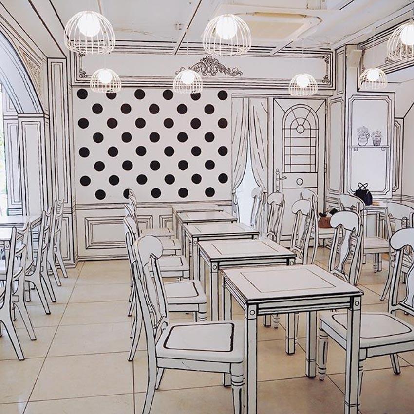 Quán Cafe 2D thiết kế dựa trên ý tưởng của sách tô màu - 12