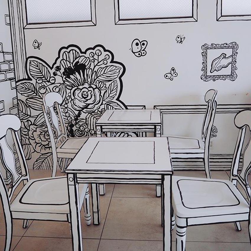 Quán Cafe 2D thiết kế dựa trên ý tưởng của sách tô màu - 13