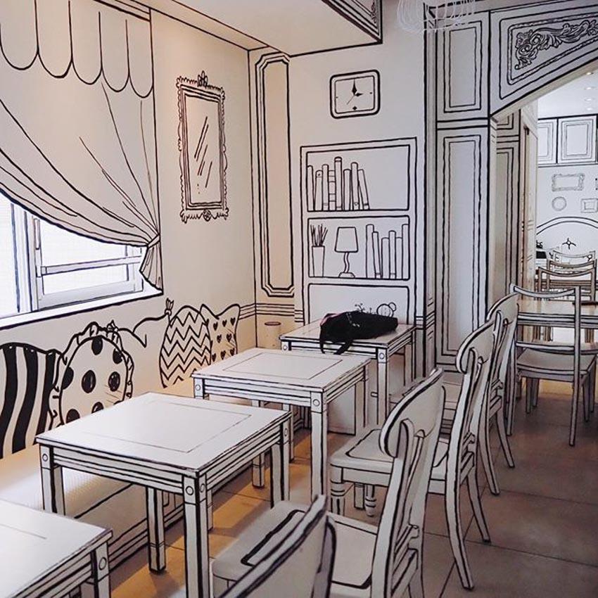 Quán Cafe 2D thiết kế dựa trên ý tưởng của sách tô màu - 14