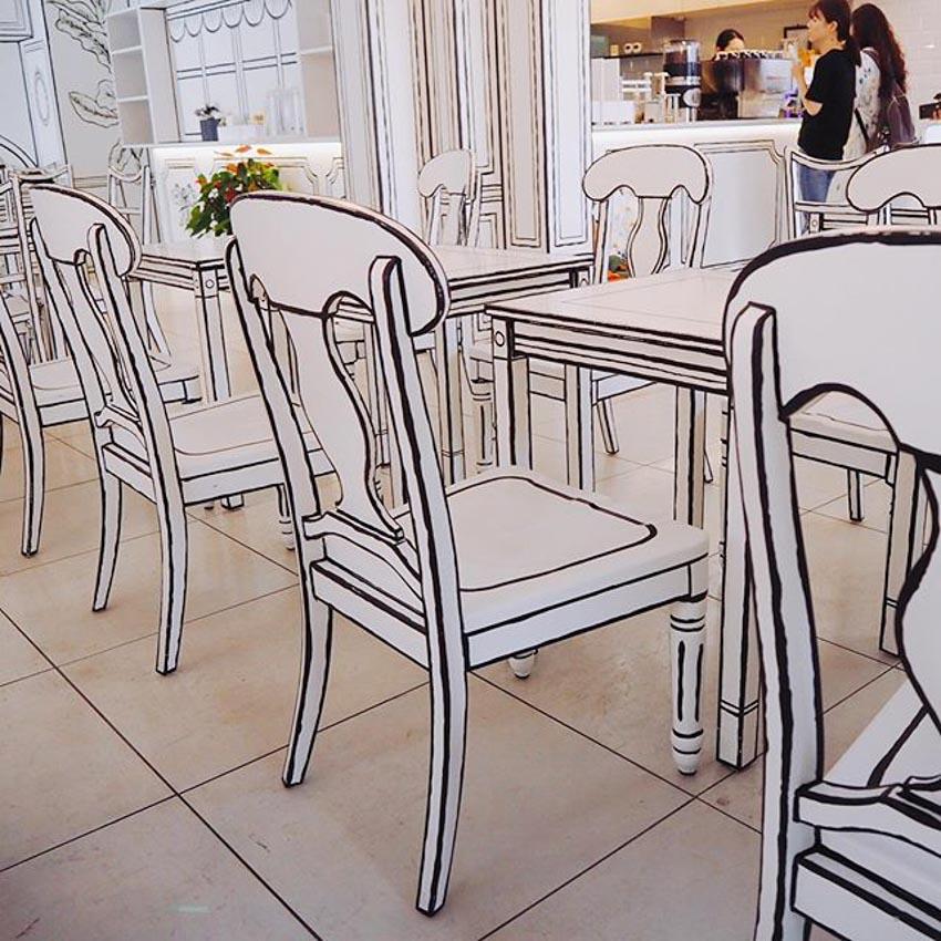 Quán Cafe 2D thiết kế dựa trên ý tưởng của sách tô màu - 15