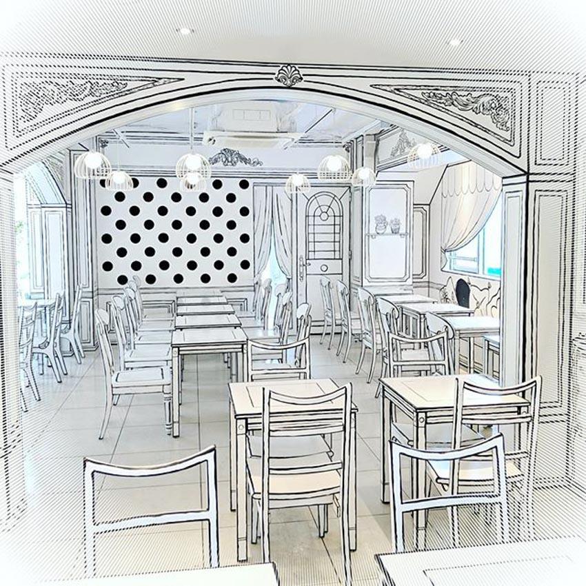 Quán Cafe 2D thiết kế dựa trên ý tưởng của sách tô màu - 16