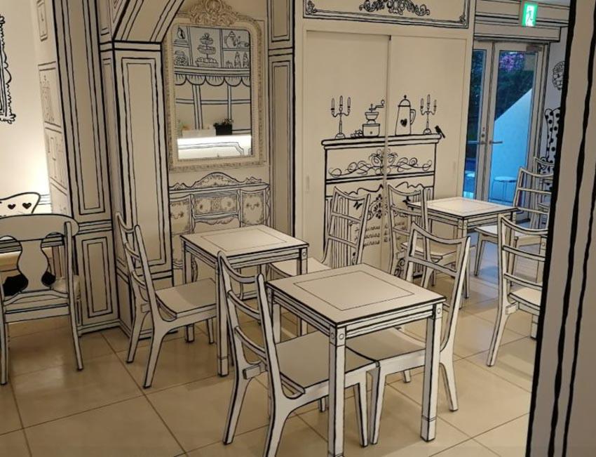 Quán Cafe 2D thiết kế dựa trên ý tưởng của sách tô màu - 2
