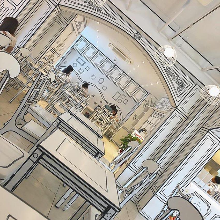 Quán Cafe 2D thiết kế dựa trên ý tưởng của sách tô màu - 22
