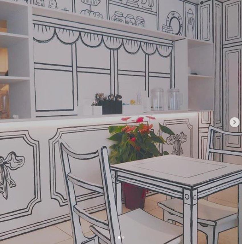 Quán Cafe 2D thiết kế dựa trên ý tưởng của sách tô màu - 3