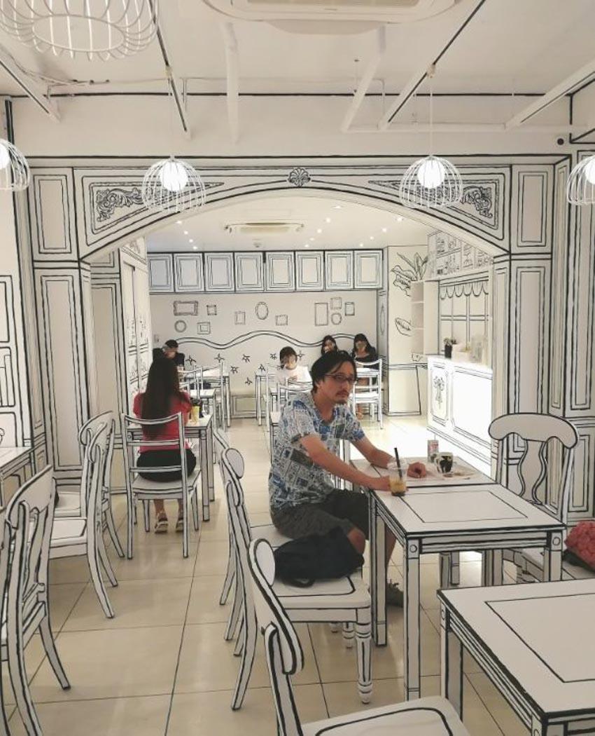 Quán Cafe 2D thiết kế dựa trên ý tưởng của sách tô màu - 5