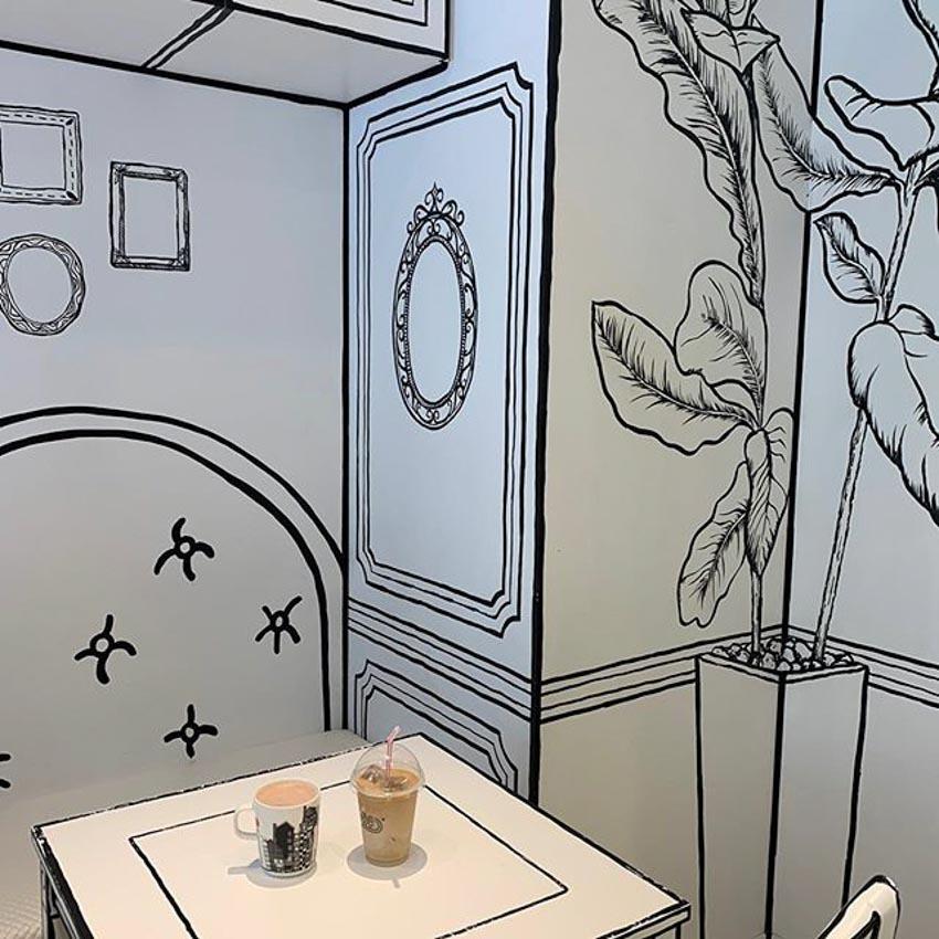 Quán Cafe 2D thiết kế dựa trên ý tưởng của sách tô màu - 7