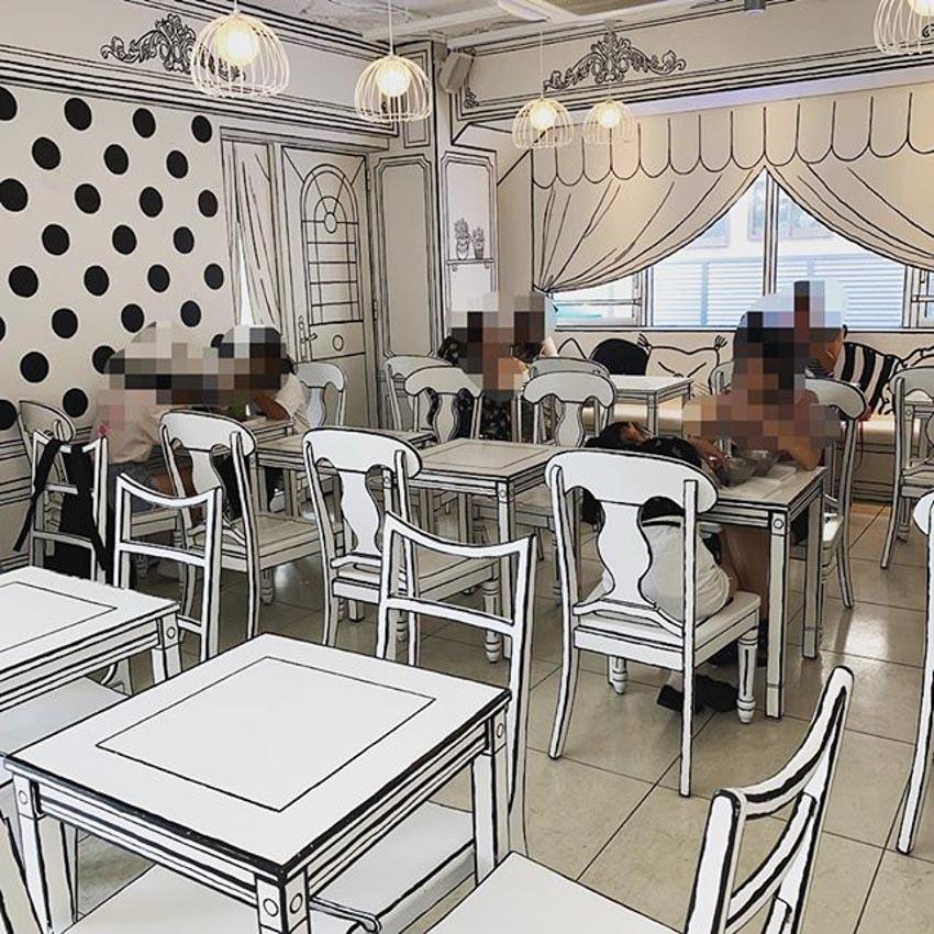 Quán Cafe 2D thiết kế dựa trên ý tưởng của sách tô màu - 9