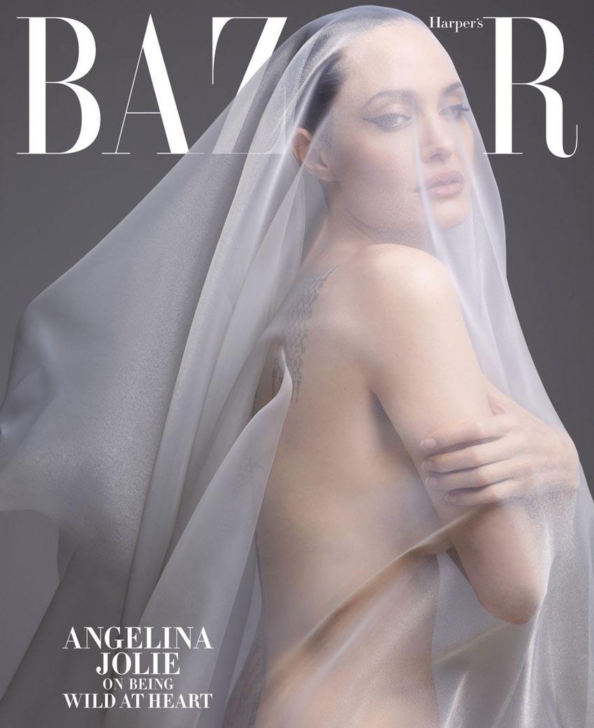 Angelina Jolie bất ngờ khỏa thân trên tạp chí Harper's Bazaar-7