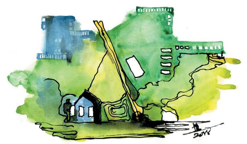Cây xanh thành phố và người hàng rong -15