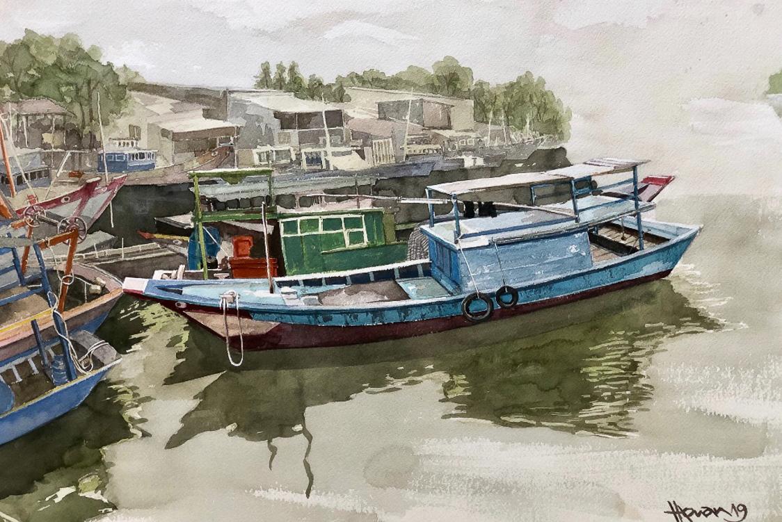 """Một thoáng """"Sông nước miền Tây"""" nên thơ của họa sĩ Hồng Quân - 29"""