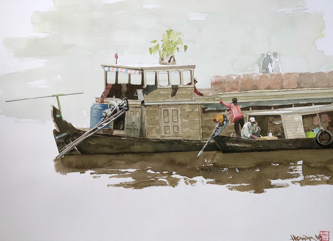 """Một thoáng """"Sông nước miền Tây"""" nên thơ của họa sĩ Hồng Quân - 59"""