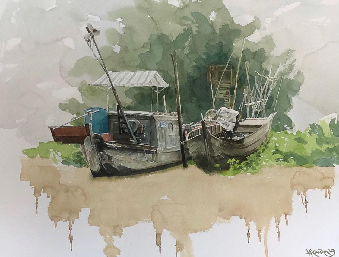 """Một thoáng """"Sông nước miền Tây"""" nên thơ của họa sĩ Hồng Quân - 33"""