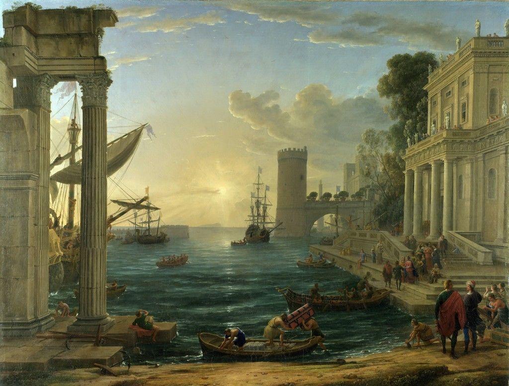 Trong bức tranh sơn dầu Cảng biển và Nữ hoàng Sheba lên tàu (Seaport with the Embarkation of the Queen of Sheba) của Claude Lorrain vẽ năm 1648