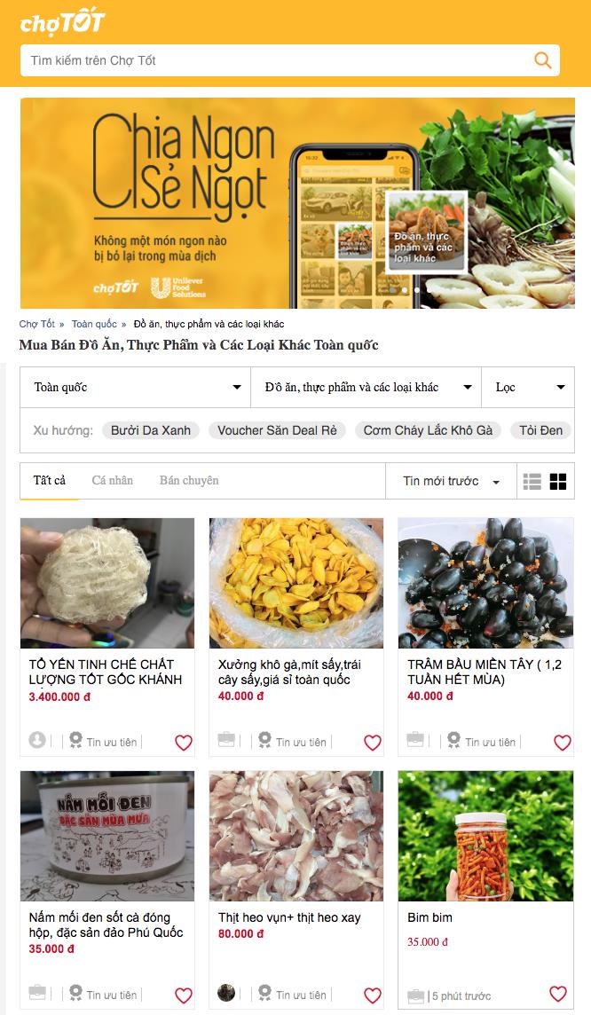 Chuyên mục Đồ ăn Thực phẩm của trang rao vặt Chợ Tốt giới thiệu miễn phí món ăn cho các nhà hàng, quán ăn giữa dịch bệnh.