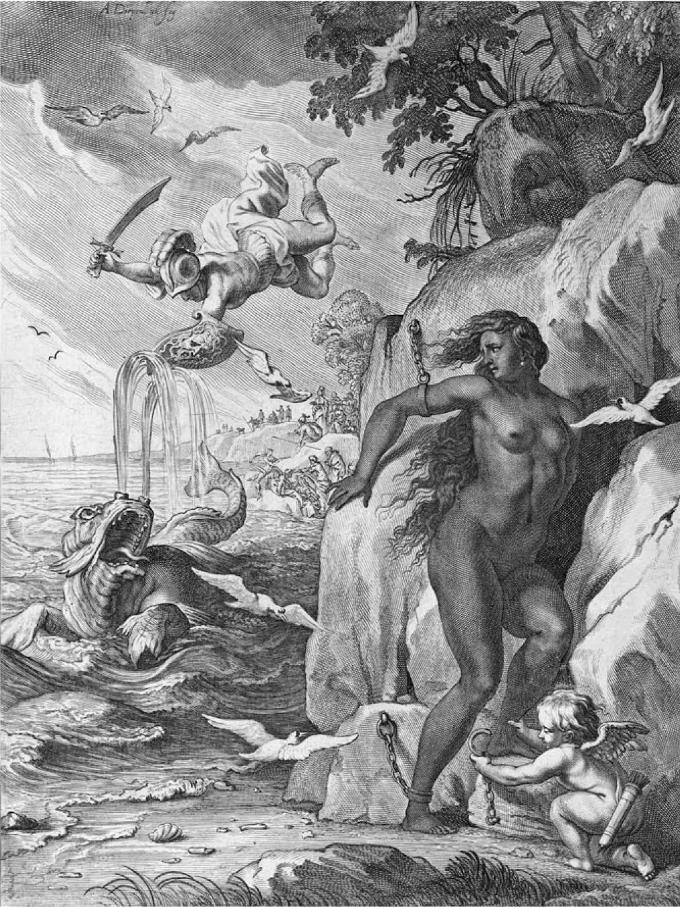 Công chúa Andromeda được mô tả với những đường nét cơ thể và mái tóc của người da trắng trong tác phẩm chạm trổ hồi thế kỷ 18 của Bernard Picart