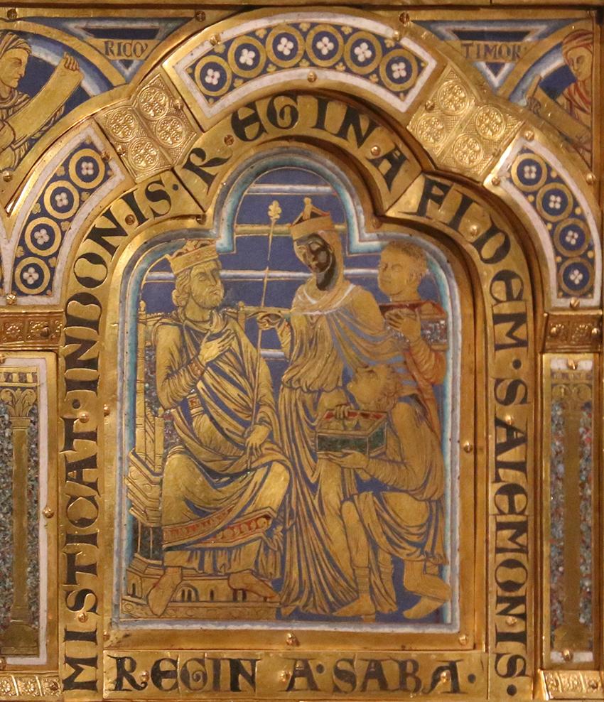 Bức tranh do Nicolas de Verdun vẽ hồi thế kỷ 12 mô tả Nữ hoàng Sheba da đen mang quà đến dâng vua Solomon