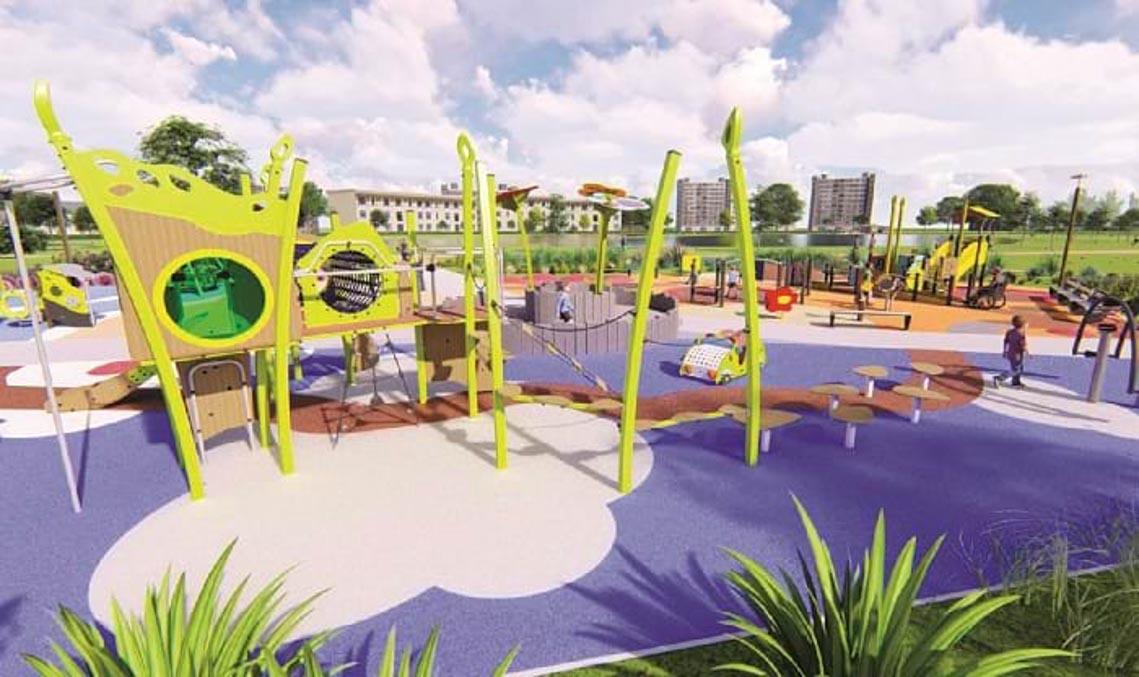 'Chỗ chơi' nơi đô thị: Sân chơi cho trẻ, từ hình khối đến sắc màu -6