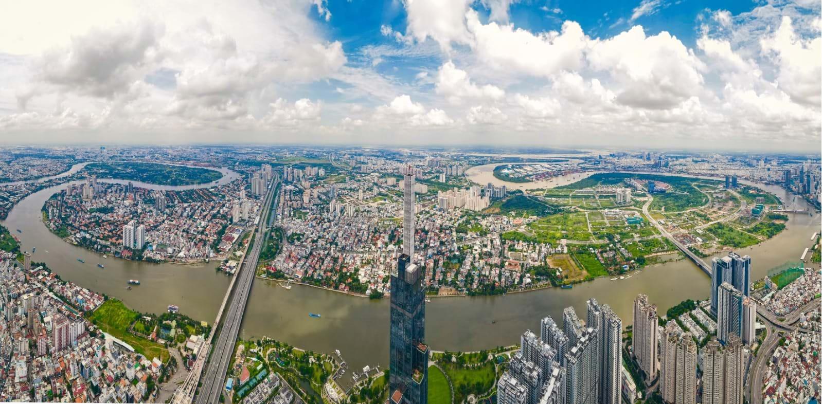 Thành phố Thủ Đức trong tương lai nhìn từ bờ tây sông Sài Gòn. Ảnh: Soha