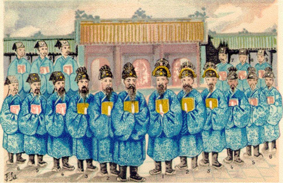 Hình vẽ quan lại triều Nguyễn của họa sĩ Tôn Thất Sa (BAVH 3/1916)