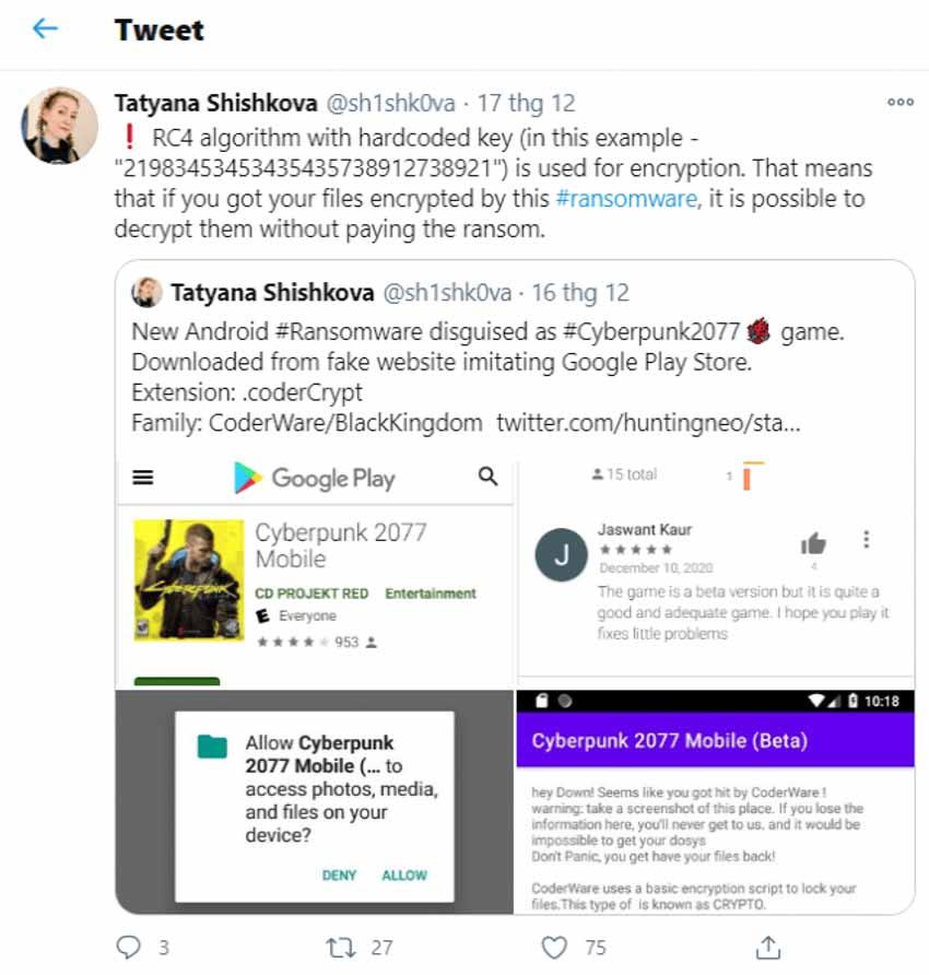 Kaspersky cảnh báo: Xuất hiện Cyberpunk 2077 mobile chứa ransomware - 2