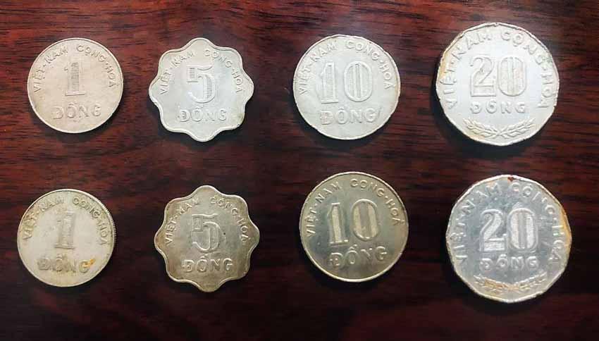 Bộ tiền kim loại trước 1975 ở miền Nam. Ảnh: TL