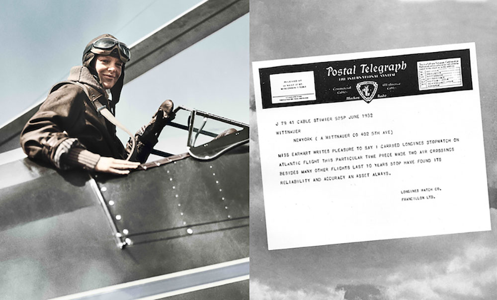 Nữ phi công Amelia Earhart và điện tín ca ngợi chiếc đồng hồ đeo tay của Longines