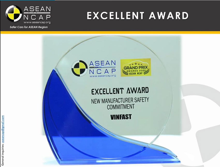 """Vinfast đoạt giải """"Hãng xe có cam kết cao về an toàn"""" ASEAN NCAP - 3"""