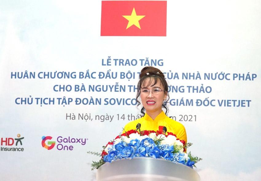 Bà Nguyễn Thị Phương Thảo phát biểu cảm ơn trân trọng khi đón nhận Huân chương Bắc đẩu Bội tinh