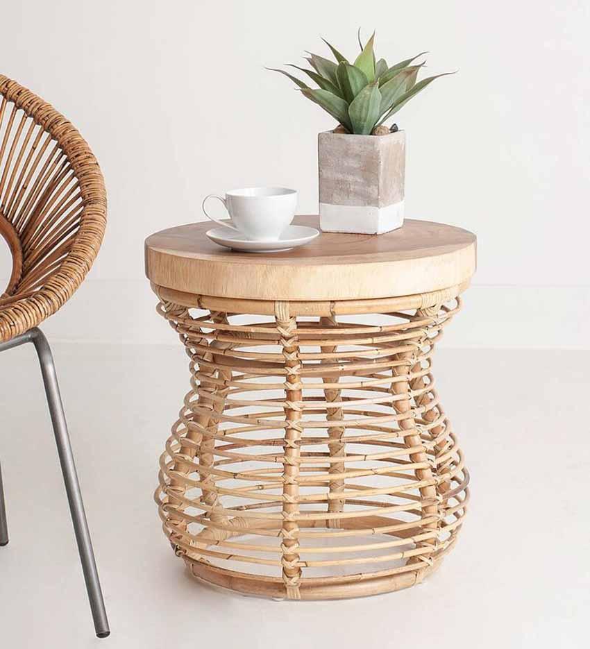 Chiếc bàn nhỏ kết hợp mây và gỗ - 1