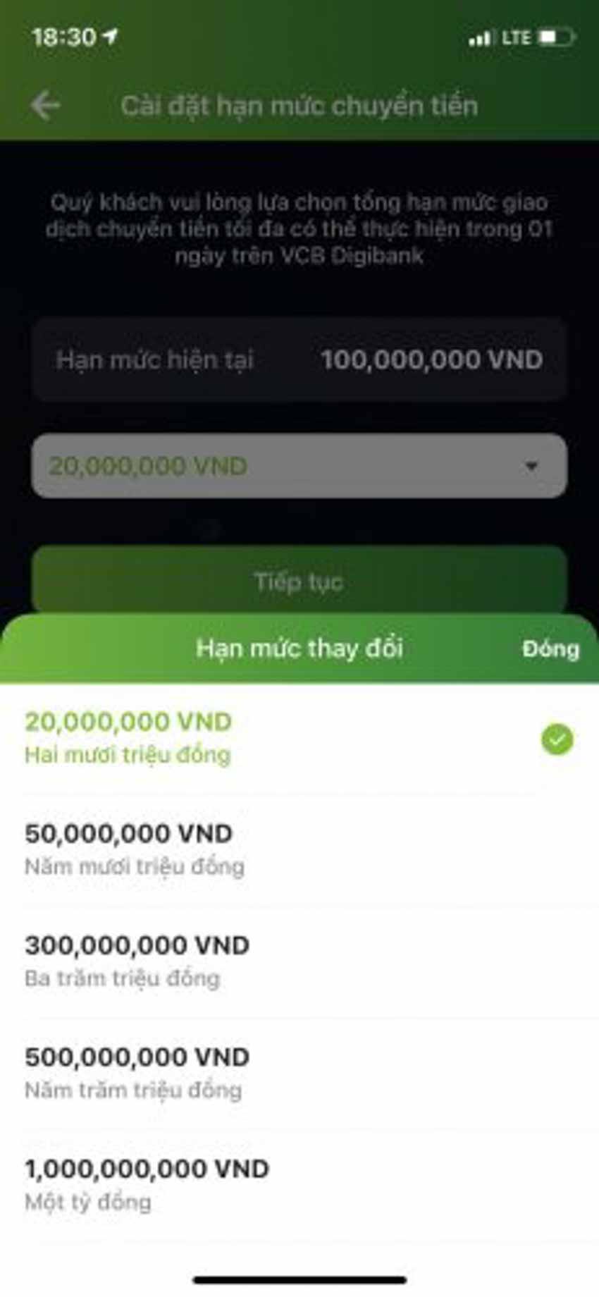 Hướng dẫn cách đổi hạn mức chuyển tiền Vietcombank - 4