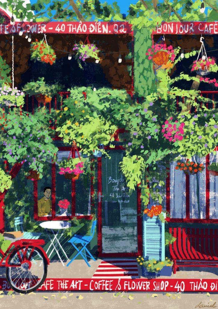 Hoa nở ở Bonjour Cafe the Art