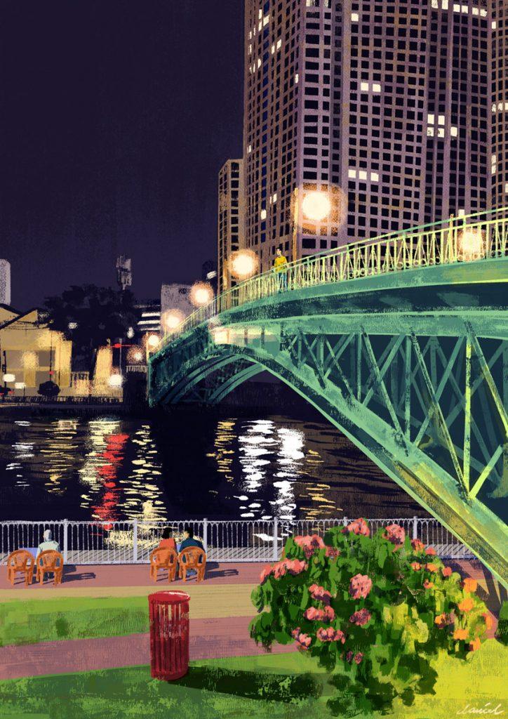 Cầu Mống vào ban đêm