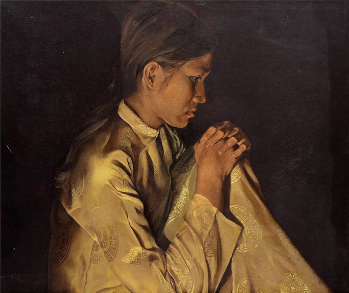 Bức chân dung vẽ vợ của họa sĩ Đỗ Quang Em