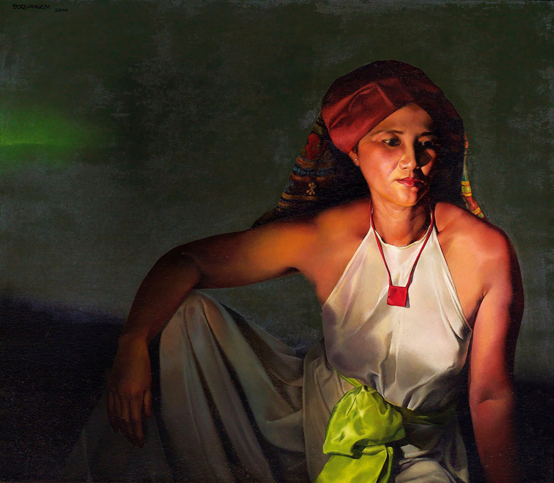 """Tác phẩm """"Bùa hộ mệnh"""" trên canvas, 72cm x 84cm, 2000"""
