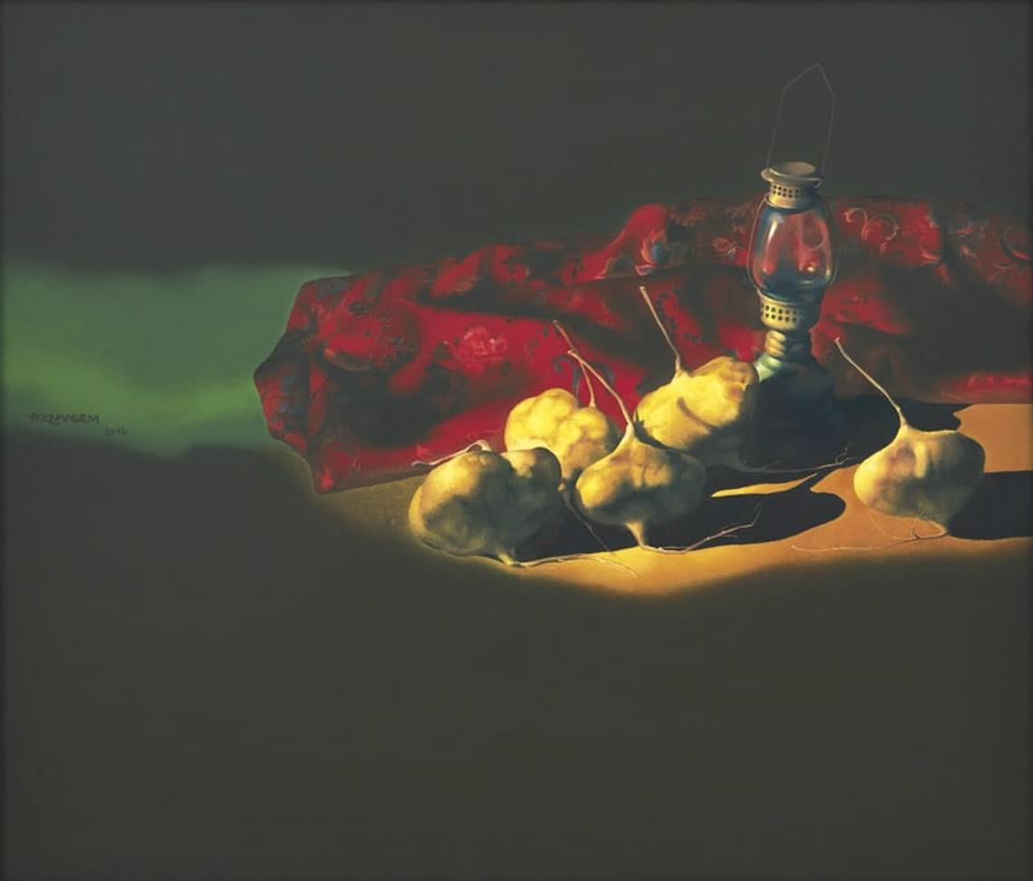 """Tác phẩm """"Tĩnh vật"""" trên canvas năm 2006, 65,5 x 76,5cm,"""